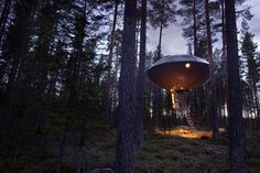 Yes, this is a hotel room!  Sleep in a UFO suite, probing optional. Treehotel, Harads, Sweden