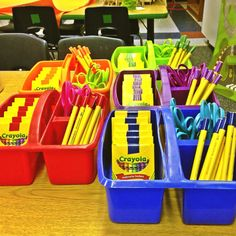 Stick duct tape on everything to get those kids organized! Here I did: pencils, scissors, and crayons.