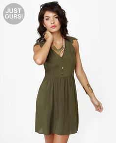 Exclusive Sherwood Forest Olive Green Dress