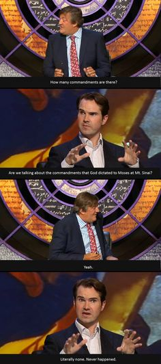 Ten commandments Jimmy Carr and Stephen Fry, BBC QI - Watch QI. watch it!