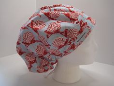 Peppermint Lollipop Bouffant Scrub Hat, OR nurse hat, surgical tech hat, medical cap PepBouf_16 by sewingzen on Etsy
