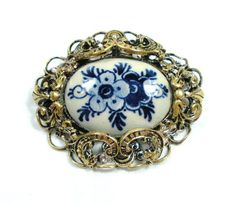 Vintage Delft Blue Porcelain Brooch with Gold by GreenDesertArt, $35.00