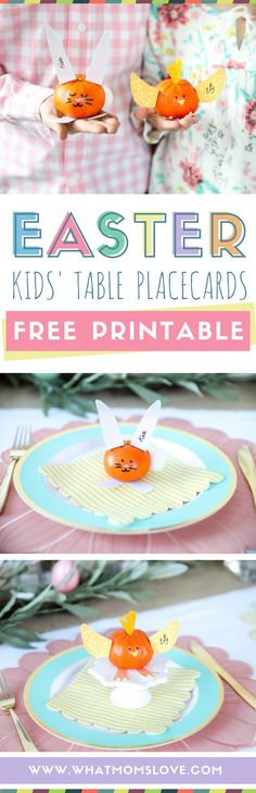Free Printable Easter Place Cards Craft - these bunnies and chicks are so cute and fun for your holiday kids table. They make an easy DIY Easter craft idea for children, and also serve as a healthy Spring snack or treat!