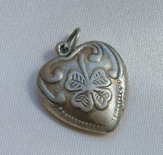 Very old Sterling puffy heart charm four leaf clover Rare design