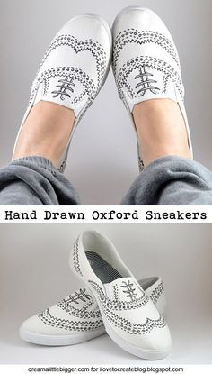 DIY hand drawn oxfords-dreamalittlebigger- great project for a fine line TeeJuice Marker!