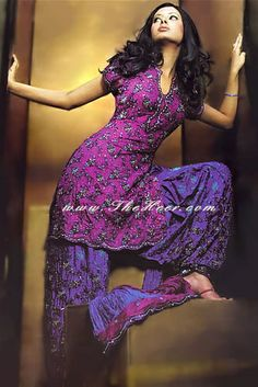 Design Product code: Patialia Salwar Kameez Shops in London, Manchester, Birmingham UK Shalwar Kameez Stores Purple Love, All Things Purple, Shades Of Purple, Deep Purple, Sari, Lehenga Choli, Collection Eid, Indian Outfits, Indian Clothes