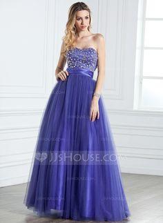 Corte A/Princesa Escote corazón Vestido Satén Tul Vestido de quinceañera con Volantes Bordado (021005316)