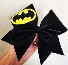 Deluxe Batman Black Spandex Cheer Bow! Ponytail holder attached! Free shipping!