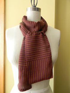 Brown and Orange Striped Silk Chiffon Scarf SkinnyFall by Olimpias, $30.00