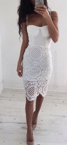 White Lace Bustier Dress With Spaghetti Straps Bustier Dress, Dress Skirt, Dress Up, Dress Lace, Bodycon Dress, White Lace Dress Short, Sexy White Dress, Lace Outfit, Fashion Mode