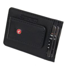 249f948bedf6 Alpine Swiss Genuine Leather Money Clip front pocket wallet with magnet clip  and card ID Case - Black - Soft Lambskin Comes in a Gift Bag