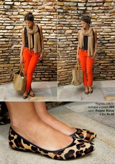 Good way to wear orange pants and black together, add a pop of tan and leopard