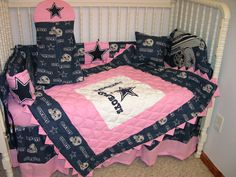 CRIB BEDDING SET MADE/W PINK DALLAS COWBOYS WITH PINK Prairie Points *SO CUTE*