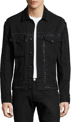 Shop Long-Sleeve Jacket W/Woven-Stitch Detail, Black from Versace at Neiman Marcus Last Call, where you'll save as much as on designer fashions. Denim Jacket Men, Leather Jacket, Denim Jackets, Denim Art, Versace Men, Men Looks, Stretch Denim, Well Dressed, Street Wear