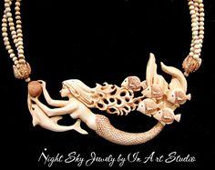Mermaid Jewelry Mermaid Necklace with Dolphin and Sea Life Antique Ivory Mermaid… Mermaid Jewelry, Mermaid Necklace, Mermaid Art, Mermaid Paintings, Ocean Jewelry, Vintage Mermaid, Mermaids And Mermen, Fantasy Mermaids, Real Mermaids