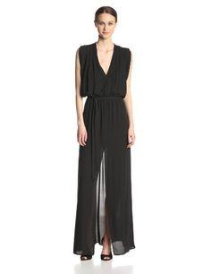 BCBGMAXAZRIA Women's Faux Wrap V-Neck Long Dress