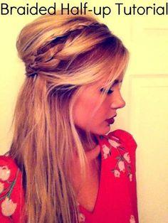 braided half-updo