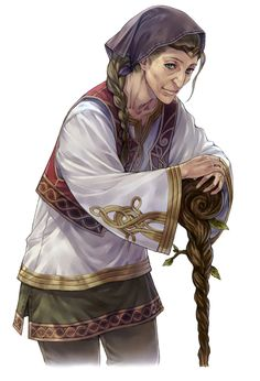 Pilca : Humain - femelle - classe peuple druide prêtre - image trois-quart - personne âgée