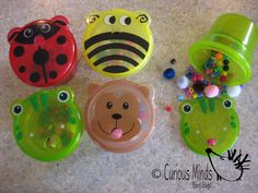 "adorable busy bag idea! Little ones practice fine motor skills while they ""feed the animals"".  Dollar Tree has those containers in the baby aisle."