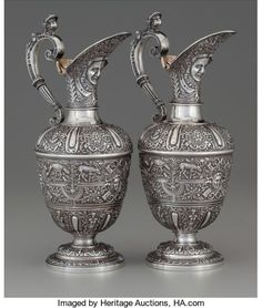 A Pair of John Samuel Hunt Victorian Cellini Pattern Partial Gilt | Lot #75075 | Heritage Auctions