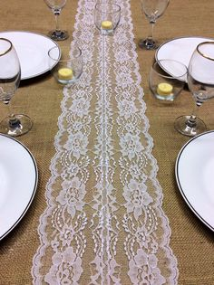 21ft White Lace Table Runner Wedding Table by LovelyLaceDesigns