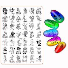 Plus Nail Stamping Plates Flower Cartoon Character Leopard Tiger Cat Mouse Fruit Manicure Transfer Template Accessory Tool New
