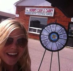 As you can see, all the cool kids are @ Norm's Cash & Carry. Come spin the Wheel of Summer & get your Reno supplies! Buy this Prize Wheel at http://PrizeWheel.com/products/floor-prize-wheels/floor-and-table-prize-wheel-12-24-slot-adaptable/.