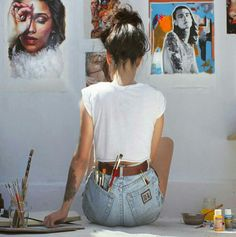 pinterest: karlirowl ♢♢♢ drawing process painting process artist at work artist's studio artist in studio