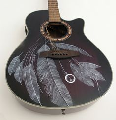 Feathers Guitar art by Patrick Fisher