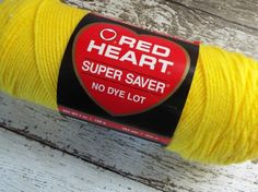 NEW Red Heart #Yarn Super Saver Worsted Weight 198g Skein Bright Yellow #knitting #crochet