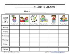 Students can complete this sheet so you are aware of their Daily Five choices....