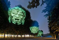 Haunting 3D Projections on Trees by Clement Briend | Bored Panda