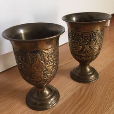 Vintage brass goblets by oldskoolmarm on Etsy