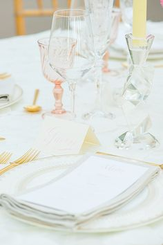 Blush and gold wedding place setting | Mikkel Paige Photography | see more on: http://burnettsboards.com/2014/07/glamorous-pink-gold-nyc-loft-wedding-ideas/