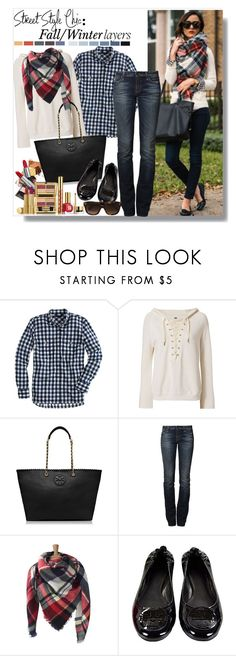 """""""Fall/Winter Layering"""" by teah507 ❤ liked on Polyvore featuring J.Crew, NSF, True Religion, Seed Design, Estée Lauder, Tory Burch, CÉLINE and blanketscarf"""