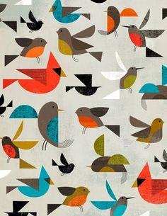 Les formes créer un motif et la répétitions des oiseaux créer aussi un motif  donc il y a deux motif dans un