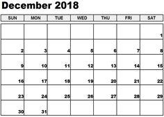 32 Best December 2018 Calendar Printable Images Blank Calendar