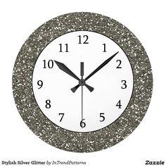 Stylish Silver Glitter Large Clock