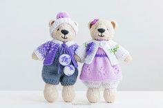 Juguete punto par poco algodón y peluche de lana del oso, tamaño 6.5 en