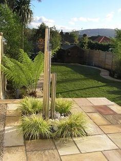 Adam J: simple, sandstone pavers (walkway). I like the look and feel of these stones. Sandstone Pavers, Paver Walkway, Garden Inspiration, Garden Ideas, Design Inspiration, Water Features In The Garden, Unique Gardens, Water Garden, Garden Landscaping