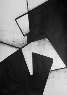 A2 Original Hand Painted Minimal Abstract Black and White Ink