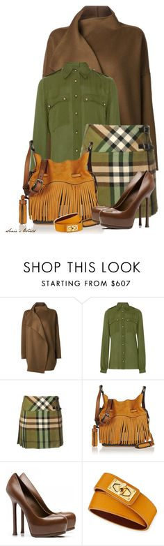 """Brown, Mustard & Green"" by sonies-world ❤ liked on Polyvore featuring Jarbo, Elie Saab, Burberry, Yves Saint Laurent and Givenchy"