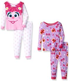 Sesame Street Girls' Abby and Elmo 4-Piece Cotton Pajama Set -- Awesome products selected by Anna Churchill