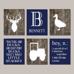 Deer Nursery, Boy Nursery Decor, Deer WALL ART Tractor Duck Rustic Nursery Country Nursery Set of 6 Prints Or Canvas Camo Big Boy Bedroom -