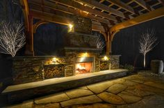 Patio Design with Pergola and Fireplace - Design by Sponzili