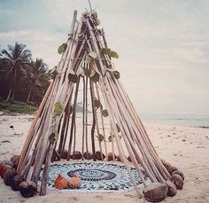 Teepee made of wood at the beach