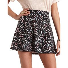 Floral Print High-Waisted Skater Skirt (€16) ❤ liked on Polyvore featuring skirts, navy blue, floral flare skirt, high waisted flare skirt, circle skirts, skater skirts and navy skater skirt