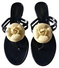c8e1611ce Black Jelly Camellia Cc Logo Thong Slides Flip Flops (Sz 39) Sandals