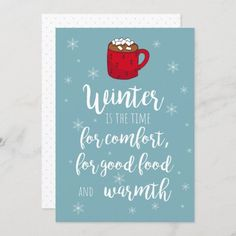 Hot Cocoa With Marshmallows Hygge Winter Holiday Card #Christmas2020 #christmascards #hygge #winter #hotcocoa #marshmallows #snowflakes #greetingcards #holidaycards #warmestwishes #warmwishes #wintergreetings #SeasonsGreetings Holiday Greeting Cards, Christmas Cards, Marshmallows, Winter Holidays, Hygge, Wedding Stationery, Cocoa, Snowflakes, Personalized Gifts
