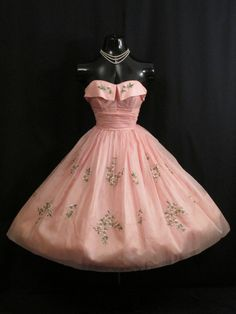 Vintage 1950'S 50s Strapless Pink Embroidered Silk Organza Prom Party Dress | eBay